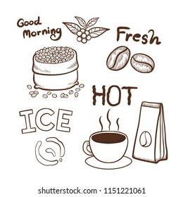 Coffee hand drawn doodles elements vector illustration