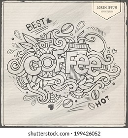 Coffee hand lettering and doodles elements background. Vector illustration