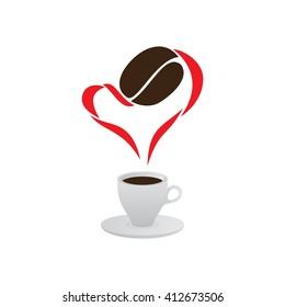 Coffee Heart, I love coffee - original design, vector logo