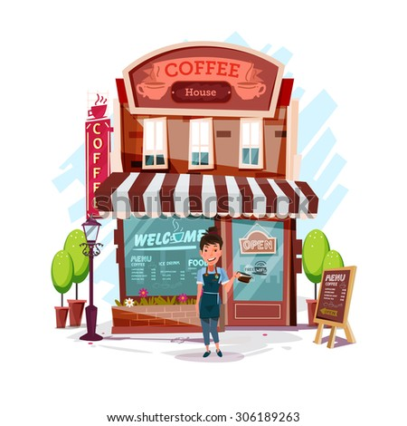 coffee house with barista girl.coffee shop. own business concept - vector illustration