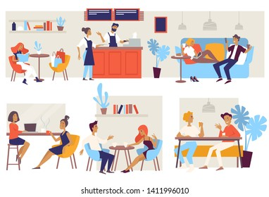 Coffee house or cafe chairs and couches barista and customers vector couple on date business lunch friends meeting woman after shopping tables chairs and sofa or couch bar and waitress in apron