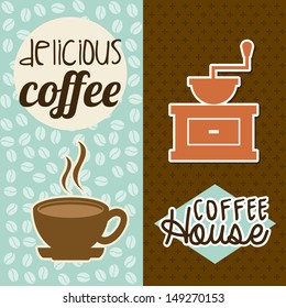 coffee house design over brown and blue background vector illustration