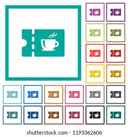 Coffee house discount coupon flat color icons with quadrant frames on white background