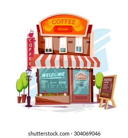 coffee house. Facade of a coffee shop store or cafe - vector illustration