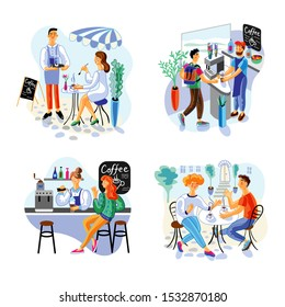 Coffee house flat vector illustrations set. Happy customers and employees cartoon characters. Woman in street cafe, man buying cappuccino. Girl in bar and couple on terrace. Catering service