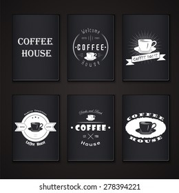 Coffee house. The food and service. Set of Typographic labels. Flat vector illustration