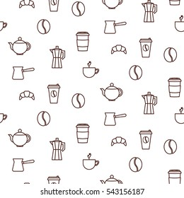 Coffee house line icons seamless vector pattern. Barista tools background.