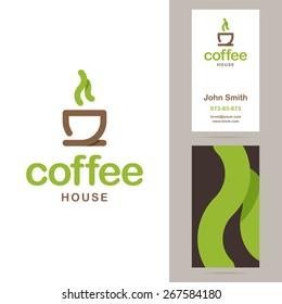 Coffee house logo and business card templates. Vector illustration.