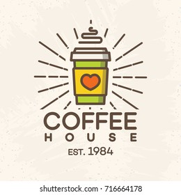 Coffee house logo with paper cup of coffee color style isolated on background for cafe, shop. Vector design elements, logos, identity, labels, badges and other branding objects. Vector illustration.