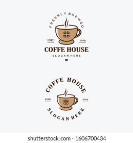 Coffee house logo template. Vintage logo coffee house