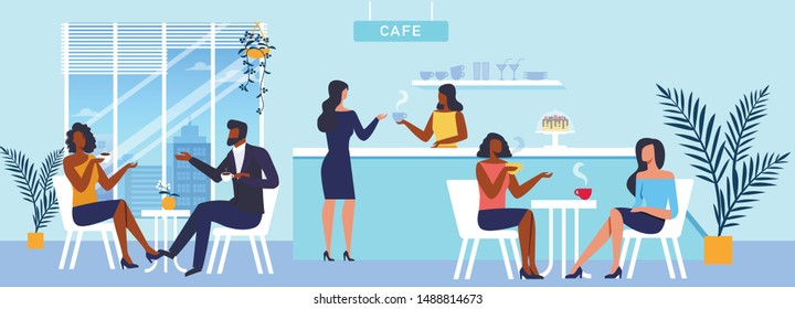 Coffee House Panorama Flat Vector Illustration. Barista and Cafe Customers Cartoon Characters. Young Couple and Girlfriends Drink Delicious Hot Beverage. Catering Business, Takeaway Service