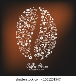 Coffee house poster of coffee bean with got coffee cups steam icons. Vector design template of hot steamy americano, espresso or cappuccino and chocolate drink for coffeeshop or cafe and cafeteria