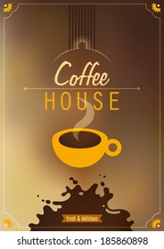 Coffee house poster design. Vector illustration.
