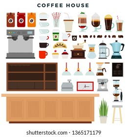 Coffee house, set of elements. Coffee shop interior, equipment, different types of coffee drinks. Icons for cafe or restaurant menu, infographics, design, banners. Vector illustration.