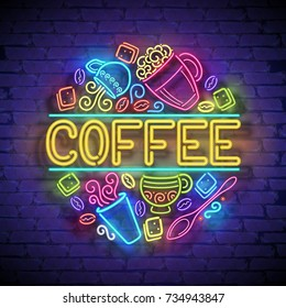 Coffee House Singboard Template with Cups, Swirl Hot Steam, Graines and Sugar. Cafe Label, Restaurant. Shiny Neon Light Style. Advertisement Flyer. Vector 3d Illustration. Abstract Decorative Art