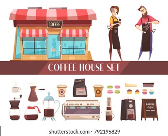 Coffee house two horizontal banners with image barmaid and barista near coffee house and set of different types of coffee makers