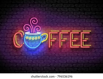 Coffee House Vintage Singboard. Cafe Label, Restaurant. Shiny Neon Light Style Lettering. Advertisement Flyer, Poster, Banner Template. Vector 3d Illustration. Abstract Decorative Art