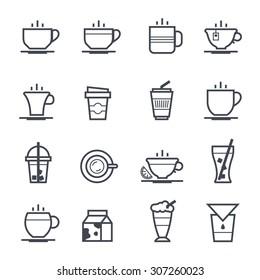 Coffee Icon Bold Stroke on White Background