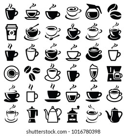 Coffee icon collection - vector outline illustration and silhouette collection