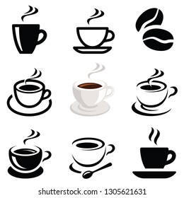 Coffee icon collection - vector outline illustration and silhouette