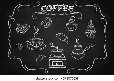 Coffee icon set, drawn in chalk on a blackboard