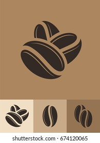 Coffee. Icon set. Hot drink. Roasted coffee beans on brown background