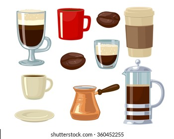 Coffee icon set isolated on white background. Vector flat illustration isolated on white background. Hand drawn design element for label and poster