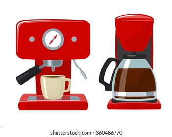 Coffee icon set isolated on white background. Vector flat illustration. Hand drawn design element for label and poster