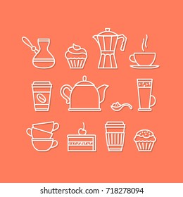 Coffee  icon set. Simple line icon design for coffee shop. Tea / cafe sign collection. Cozy sample image for website, menu, coffeshop. Simple vector illustration.