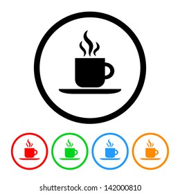 Coffee Icon in Vector Format with Four Color Variations