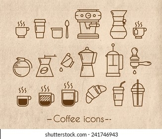 Coffee icons execution lines in minimalistic style symbol cup, french press on the background craft