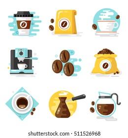 Coffee icons, flat design