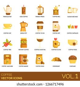 Coffee icons including percolator, iced, french press, mill, sugar, milk, cup, moka pot, app, capsules, tree, instant, cocktail, love, pods, machine, maker, pack, croissant, cupcake.