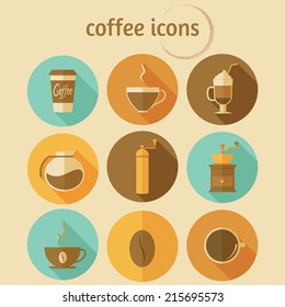Coffee icons with long shadow. Vector set, flat design, EPS 10.