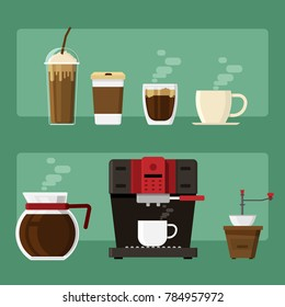 Coffee icons and coffee machine and cup drink elements on background. vector illustration