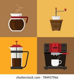 Coffee icons and coffee machine elements on background. vector illustration