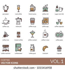 Coffee icons. Percolator, iced, french press, hand grinder, sugar, milk, moka pot, app, capsule, tree, instant, cocktail, pod, machine, coffeemaker, pack, croissant, cupcake. Cafe vector illustration.