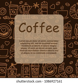 Coffee icons seamless pattern. Hot drinks flat line icons - coffeemaker machine, beans, cup, grinder. For restaurant menus, business cards, brand design, websites etc. Editable Stroke.