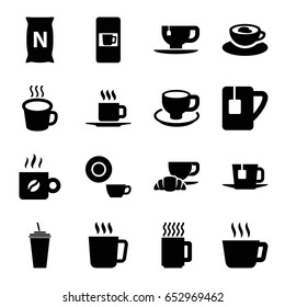 Coffee icons set. set of 16 coffee filled icons such as mug, vending machine, dish, drink, tea cup, bag with ground