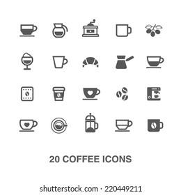 Coffee icons set.