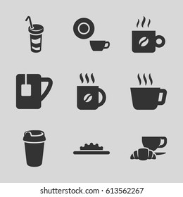 Coffee icons set. set of 9 coffee filled icons such as dish, drink, tea cup, camera wheel