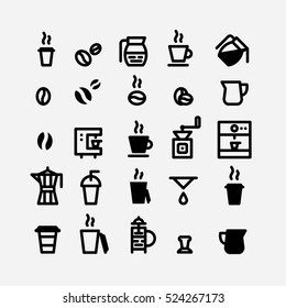 Coffee icons set. Bean and cup icon vector. Italian coffee. Barista. Hot drink. Morning