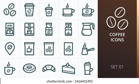 Coffee icons set. Set of coffee beans, paper cup of coffee, coffee machine and grinder, turk, bag, pack, decanter, latte, donut isolated icons