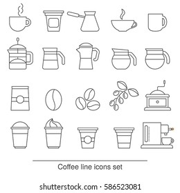 Coffee icons set. Collection coffee icons in thin line style.