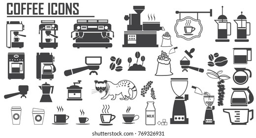 coffee icons set. luwak,  Roasted coffee beans, coffee machine , espressso, late