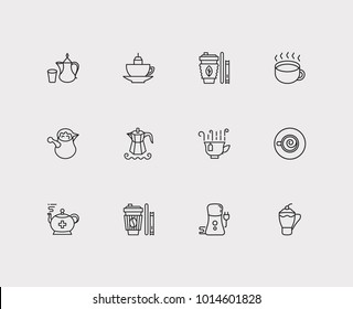 Coffee icons set. Takeaway tea and coffee icons with grinder, turkish and arabic coffee pot. Set of elements including green tea for web app logo UI design.