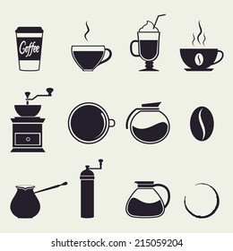 Coffee icons.  Vector set,