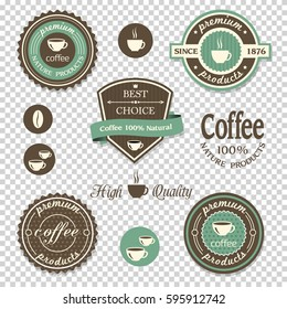Coffee icons,labels, posters, signs, banners set on transparent background. Vector design elements