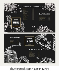 Coffee illustration menu. Hand drawn vector coffee banner. Coffee beans, leaves, branch, cup, flowers. coffe macine