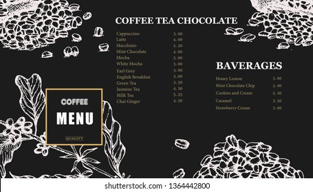 Coffee illustration menu. Hand drawn vector coffee banner. Coffee beans, leaves, branch, cup, flowers.